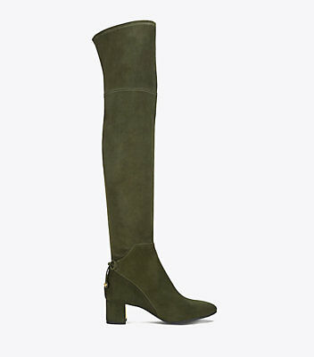 Tory Burch Laila 7.5M Boxwood Suede Bow Gold Reva Zip Over The Knee Boots  $598