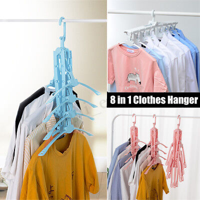 8 In1 Portable Folding Clothes Hanger Foldable Travel Cloth Coat Drying Rack Set