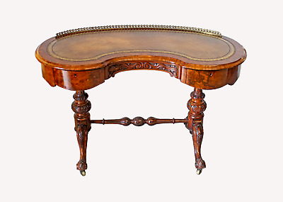 A Beautiful Quality Burr Walnut Kidney Shaped Writing Desk