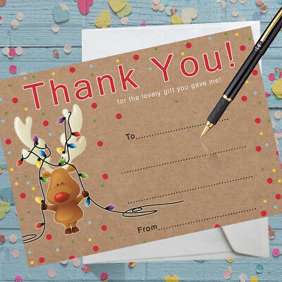 Christmas Thank You Cards notelets x 8 with envelopes - Write your own -Reindeer