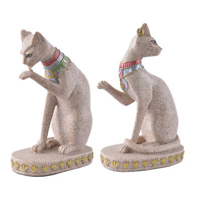 2x Ancient Egypt Style Egyptian Mau Sandstone Statue Carved Figurine Decor