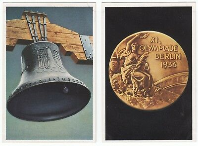 2 1936 Berlin Olympics GOLDMEDAL and OLYMPIC BELL Franck Cards