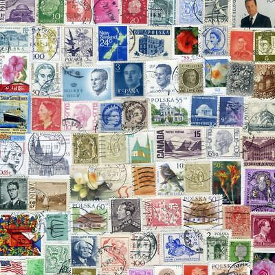 100+ ALL DIFFERENT WORLD Stamps CV$25 Off Paper Quality Collection Kiloware Sets