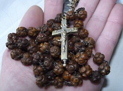 XL Large Antique 1820s French Georgian Boxwood Rosary w/Reliquary Bronze Cross