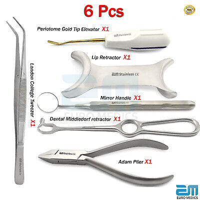Dental Periodontal Kit Middledorf retractor Periotome Elevator College Mirror CE