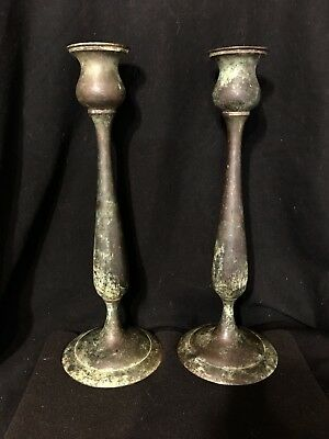 """2 Metal Green Patina Taper Candlesticks Candle Holder 14"""" Very Lovely Heavy"""