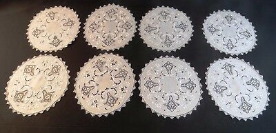 Antique Placemats Linen Italian White Embroidered Filet Lace Luncheon 8 pc Set