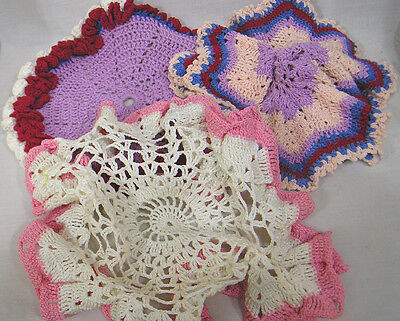 Vintage LOT of 3 Crocheted Doilies Three Pink Purple Red Blue and White Lovely!!