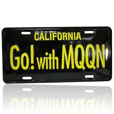 MOONEYES Kennzeichen Go with Moon schwarz license plate vintage style beach surf
