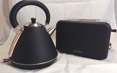 Salter COMBO-3646 1.7 Litre Pyramid Kettle with 2 Slice Toaster, Rose Gold/Black