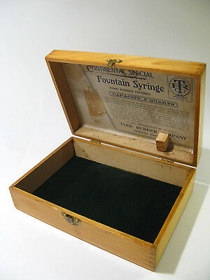 "Antique 1800s Solid Poplar ""Continental Special"" Fountain Syringe Storage Box."