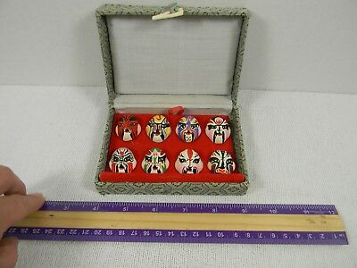 Vtg Chinese Opera Miniature Hand Painted Face Masks collectors set of 8 in box