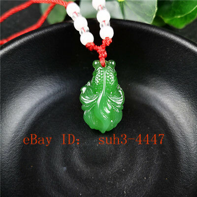 Green Jade Carved Goldfish Pendant Necklace Beads Rope Chain Fashion Amulet