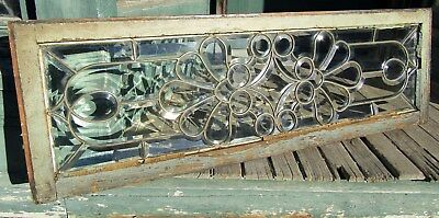 FANCY VICTORIAN BEVELED GLASS TRANSOM WINDOW 15 by 48