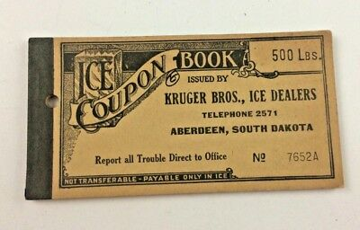 Vintage 1920's Ice Coupon Book 500 Lbs. Kruger Bros. Ice Dealers, Aberdeen,S.D.