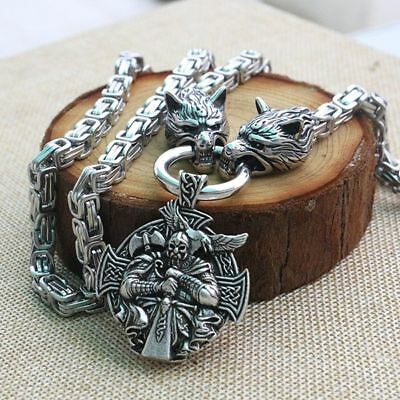 Necklace Viking Wolf Head Pendant Norse Talisman Stainless Steel Ethnic Jewelry
