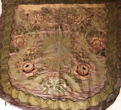 Antique French Hand Embroidery Gold Metallic Thread Damask Swans Figure Tapestry