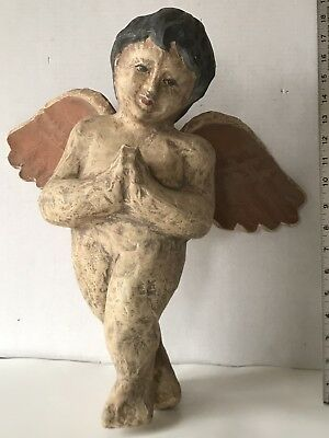 "17"" Vintage OR Antique LARGE Paper Mache Hand Painted Angel Cherub Putti Figure"