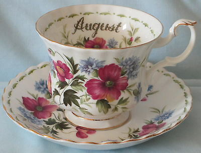 Royal Albert Flower of Month August Poppy Cup and Saucer set