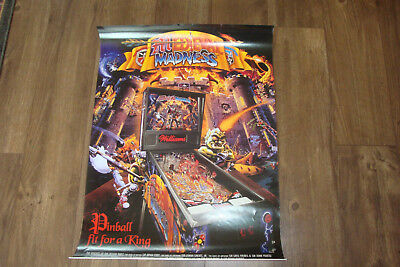"Williams Medieval Madness Original Pinball Poster For Framing, Size 36"" X 24"""