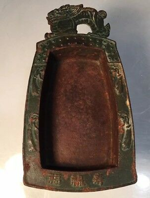 Antique Green Cast Iron Japanese Suiban Tray Dragon Dish Ikebana Bonsai