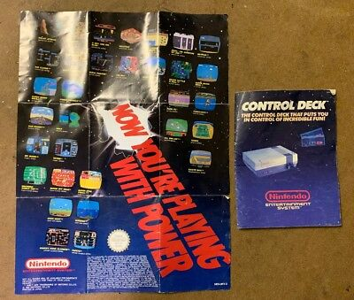 Nintendo Control Deck Instruction Manual UKV-2 and Games  Poster NES-UKV-3