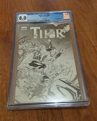 The Mighty Thor #700 - 1:100 Black+White Variant (2017) Marvel Legacy Cgc 8.0