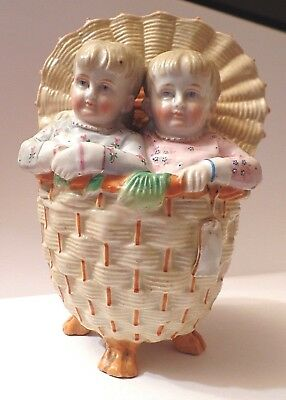 Rare Fairing Twin Piano Babies in a Basket What Frolicks are Here 278 C. 1890