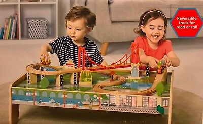 Carousel 2 In 1 Reversible Track 56 Piece Wooden Train Table with Track & Trains