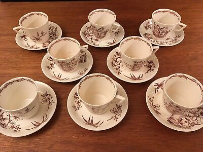set 8 Antique Alcock Aesthetic Brown Transferware Large Cup & Saucer KENILWORTH