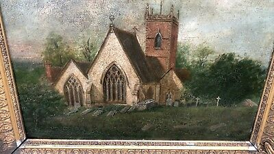 Beautiful Antique Vintage Guilded Framed Painting Of An Old Church *