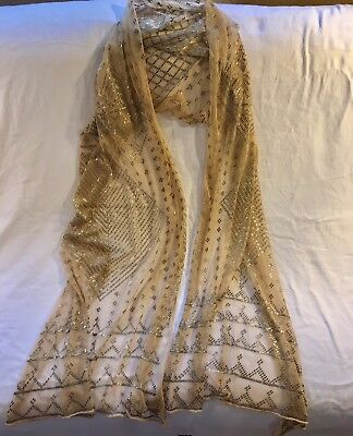 Fabulous Antique 1920 Egyptian Assuit Shawl Golden Fine Cotton w/  Silver Thread