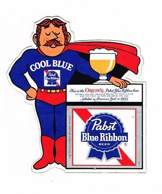 Pabst Blue Ribbon Cool Blue Man Helmet Cellphone Yeti Laptop Car Decal Sticker