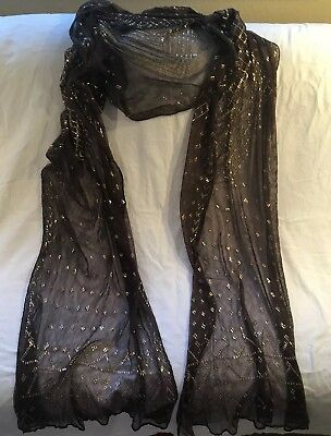 Fabulous Antique 1920 Egyptian Assuit Shawl Fine Cotton w/  Silver Thread