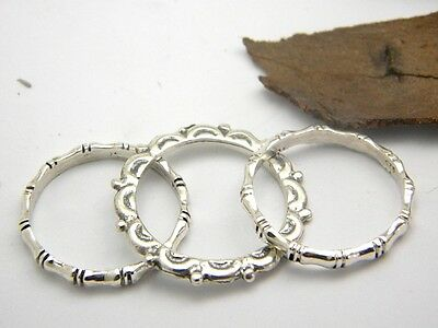 Triple stacking rings sterling silver stack band ring size 7.75 set of three