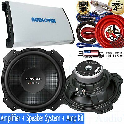 "2x Kenwood Excelon 12"" 4-ohm 400W Sub + AT950S 4000W Amplifier  + 4 Guage Kit"