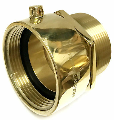 "2-1/2"" Female NST-NH x Male NPT HYDRANT SWIVEL BRASS ADAPTER SNOOT POLISH BRASS"