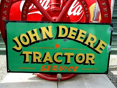 "Vintage JOHN DEERE Parts Service SIGN Tractor Farm Advertisement 24"" Garage Barn"