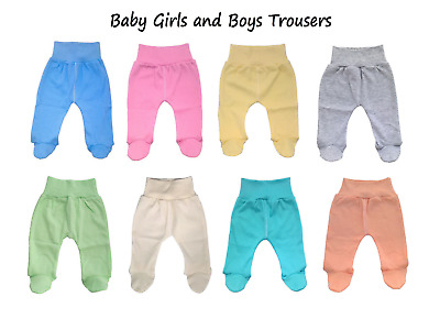 Baby Girls Leggings 3 Pack Trousers Plain Cotton Newborn Toddlers Size 3-18 Months