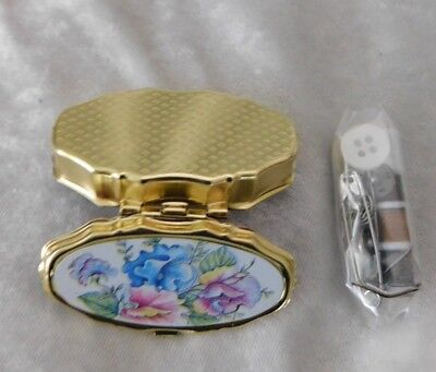 NEW Purse Size Travel Sewing Kit - Floral and Gold Tone Pretty Case