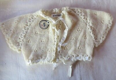 Vintage Hand Knit Baby Sweater Shrug Ivory Made in Spain Wool Ribbon Trim NWT