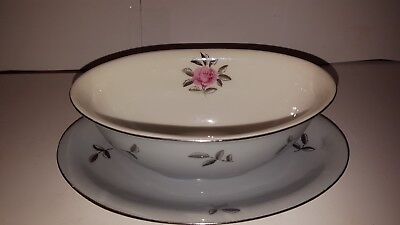 Seyei Fine China Bella Maria Pink Rose Gravy boat attached underplate 2129