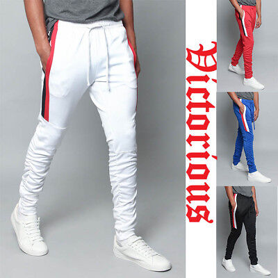 Men's Scrunched Bungee Striped  Workout Drawstring Techno Track Pants TR546-E10A