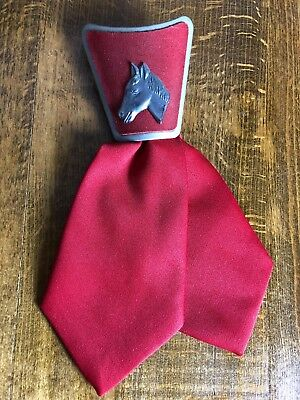 Vintage Short Tie Western Theme Clip On Design Horse Rockabilly Swing