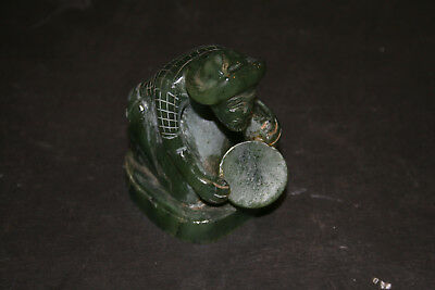 Vintage Alaska Carved Jade Miner Panning Gold Multitone Dark Green Sculpture