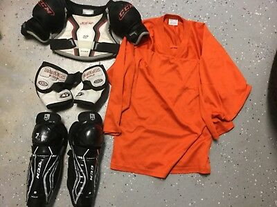 HOCKEY EQUIPMENT Lot JUNIOR Size YOUTH SHOULDER PADS JERSEY SHIN GUARD ELBOW PAD