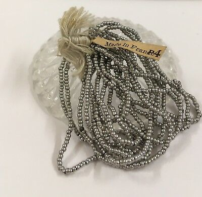 Antique FRENCH CUT STEEL BEAD HANK SILVER  ROUND RARE SEED BEADS 12 Loop