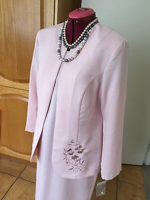 Pink Jacket And Dress Set Size 14 With Embroidery