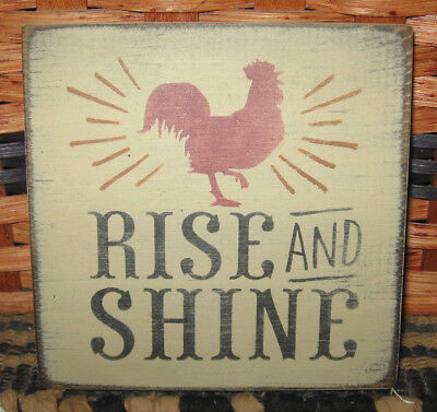 PRIMITIVE  COUNTRY RISE & SHINE mini  sq   SIGN ROOSTER