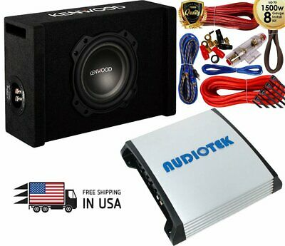 "Kenwood P-W804B 900W Single 8"" Vented Sub Enclosure + AT-910M 1500W Amp + 8g Kit"